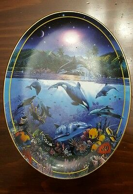 Rainbow Sea Plate- Above and Below by Christian Riese Lassen #4216A Ocean Scene