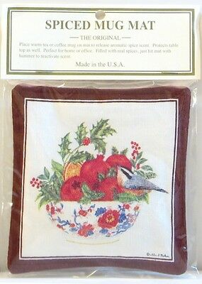 Alice's Cottage Cotton Scented Spiced Mug Mat Coaster Holiday Pomegranate Bowl
