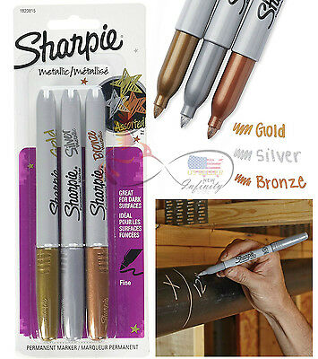 Sharpie Metallic Permanent Markers 3 Pc Gold Silver Bronze Fine Point Marker Set