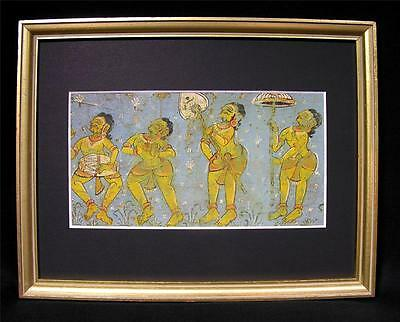 Antique Indian Banner Painting Procession of Dancers 19thC