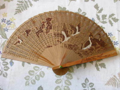 Hand Painted/Carved Asian Oriental Bamboo Hand Fan with Birds and Case