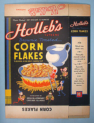 1940s Holleb's Corn Flakes Cereal Box with Palmer Cox Like Brownies Elves