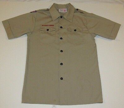 Lot 2 BSA Boy Scouts Of America Youth L/Large Uniform Shirt Short Sleeve Tan