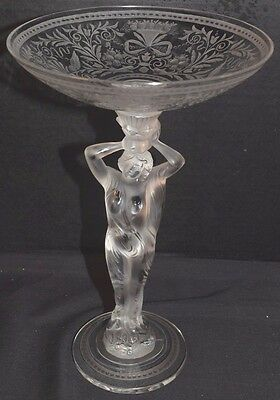 Antique Etched Bohemian Crystal Glass Candy Dish or Compote With Female Figure
