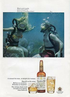 1960's Canadian Club Print Man And Girl Scuba Diving- Must A Girl Prove Herself