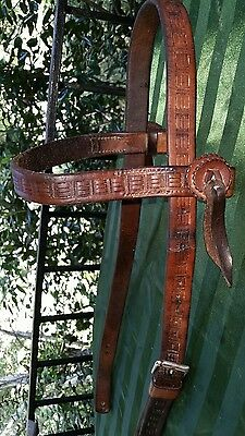 Antique Harpham Brothers H.B. Brand Lincoln Nebraska Tooled Headstall