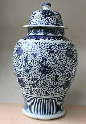 19th C.CHINESE PORCELAIN BLUE AND WHITE GREAT VASE JAR  KANGXI mark 18'' TALL