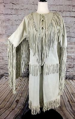 Vintage Mexican Dress Suede Fringed Leather Southwest Made in Mexico S M Heavy