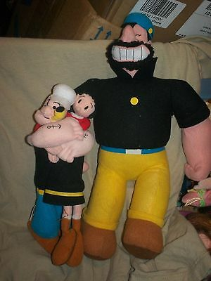 Plush Popeye, Olive Oyl, and Bluto/Brutus- lot of 3- excellent