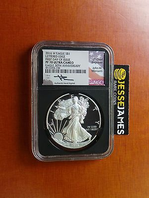 2016 W Proof Silver Eagle Ngc Pf70 Ultra Cameo Mercanti First Day Issue Fdoi