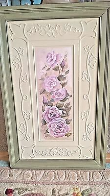 Shabby Cottage Picture Pink Lavender Roses Vintage Style CEILING TIN Picture