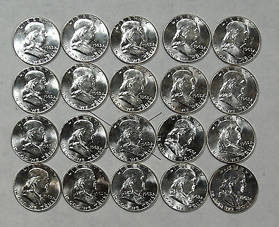 Franklin Silver Half Dollar 1963-P Roll UNC/BU Lot #3