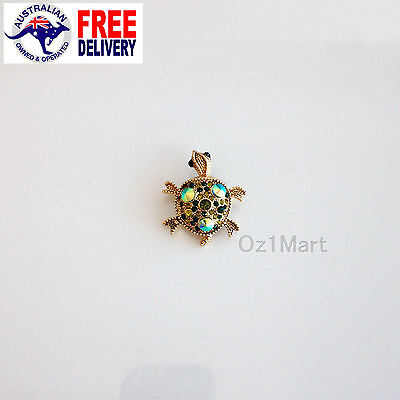 NEW Fashion BROOCH Green Turtle Crystal Elegant Office Casual Pin Gift