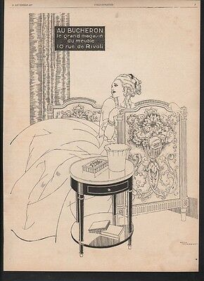 1927 Woodcutter Furniture Rene Vincent Bed Night Stand Beauty Dress Flower 21460