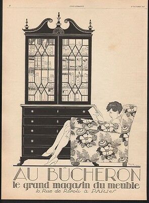 1927 Woodcutter Furniture Rene Vincent Sexy Beauty Dress Cabinet Book Ad21485