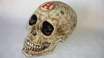 Human Skull Replica. Very Decorative. Ceremonial ? Encrypted ? Very Cool!