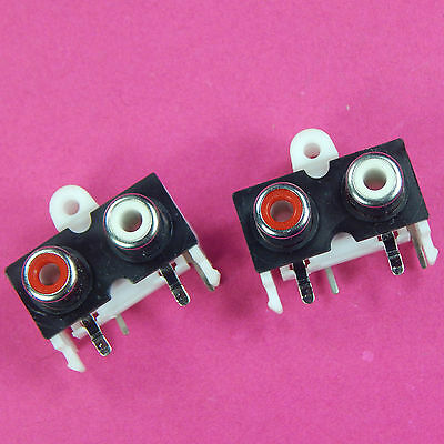 2 of PCB Mounting Dual RCA Jack Red White