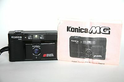 Konica MG 35mm Film Camera w Hexanon 35mm f/3.5 Lens, Instructions-  Excellent!!