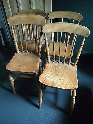 4 Genuine Vintage Antique Kitchen Chairs G.R.V Crown Mark George 5th Early 1900s