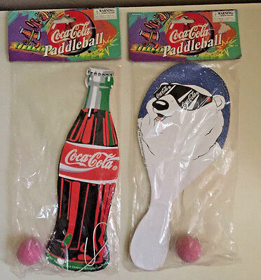 Coca Cola Paddleball Set of two (bottle shape & polar bear)