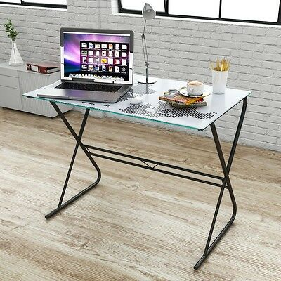 S# Modern Tempered Glass Computer Student Desk World Map Pattern Home Office Wor