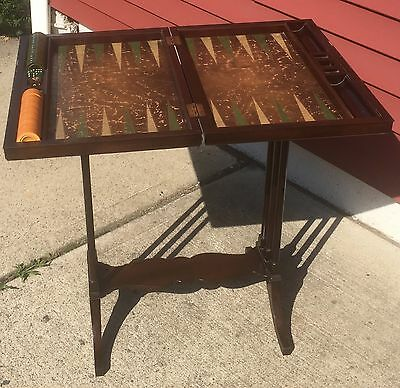 Antique 1930'S Backgammon Game Table-Side Table Mahogany 30 Bakelite Pieces Dice