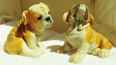Dog Figurine BULLDOGS 2 Puppies Sitting Red/White 1990's USA WHIMSICAL ADORABLE