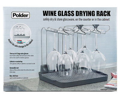 Polder Wine Glass Drier/Storage Rack - Grey