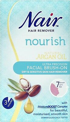 Nair Ultra Precision Facial Brush-On Hair Remover Cream with Argan Oil 50ml NEW