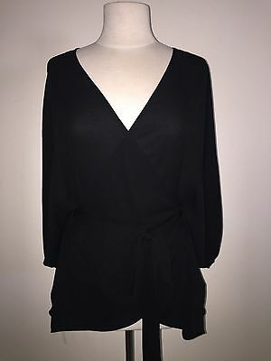 City Chic Size S 16 - 18 black dolman batwing sleeve wrap top sheer