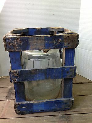 Vintage 2 1/2 Gallon Glass Barrel Shape Pickle Jar With Wooden Protective crate