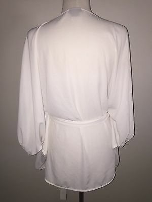 City Chic Size S 16 - 18 white dolman batwing sleeve wrap top sheer