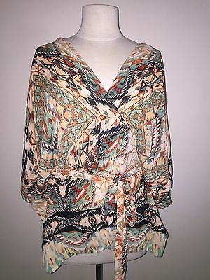 City Chic Size S 16 - 18 aztec print dolman batwing sleeve wrap top sheer