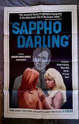 Sappho Darling Original movie poster Adult Film Yvonne D'Angers CAROL YOUNG 1969