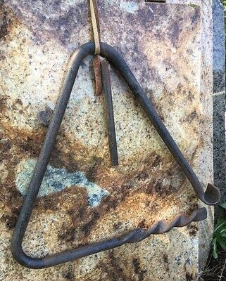 Large Vintage Classic Triangle Iron Dinner Bell W/ Ringer & Leather Strap