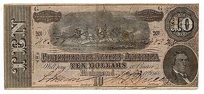Large Size 1864 $10 Currency Confederate States America Richmond