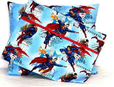 Superman Toddler Pillow and Pillowcase set on Turquoise Cotton S7-3 New Handmade