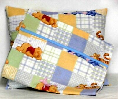 Pooh Toddler Pillow and Pillowcase multi-color squares Cotton P4-37 New Handmade