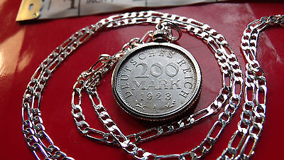 """GERMANY 1923 <> 200 MARK Coin Pendant w/ 20"""" .925 Sterling Silver Chain."""