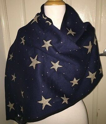 SEED Heritage navy blue gold stars scarf shawl wrap
