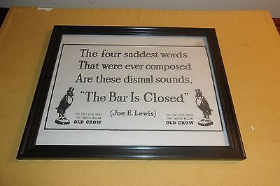 """Vintage Framed Under Glass Ad for Old Crow """"The Bar is Closed"""" 10"""" x 8"""""""