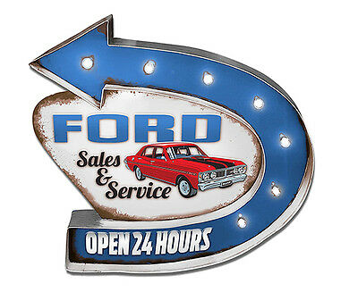 Ford Service Light Up Tin Sign