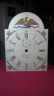 american wooden works tall clock dial vintage hand painted with american eagle