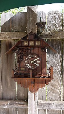 antique German black forest carved cuckoo clock chalet log home style project