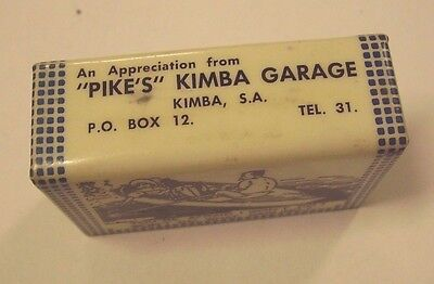 Vintage Pikes Kimba Garage Matchbox Cover Holder, Celluloid Tel 31 Risque Comic