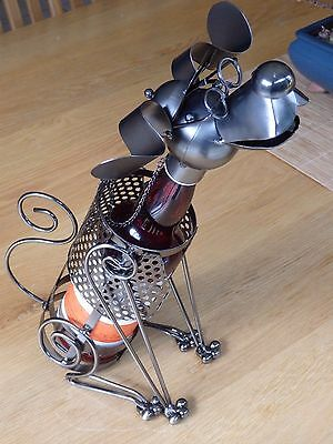 table piece  gift wine rack wine bottle holder dog with glasses bar dog lovers