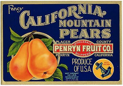 Genuine California Pear Crate Label Placer County 1940S Scarce Fruit Vintage