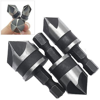 High Carbon Steel 5 Flute Carpentry Chamfer Countersink Wood Metal Drill Bit Hex
