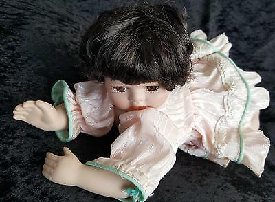 Porcelain Doll - Baby Girl Doll - Lying Down - Cute Pink Dress - No Pantaloons!
