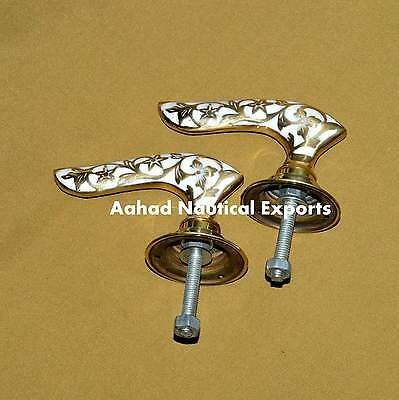 Lot 2 Vintage Solid Brass Door Lever Handles on Backplates Free Shiping